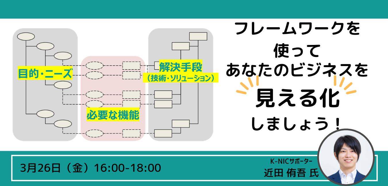 (空き枠あり)【オンライン相談】近田侑吾サポーター「フレームワークを使って、あなたのビジネスを「見える化」しましょう!」